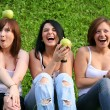Girl firends with apples ourdoor — Stock Photo #19889627
