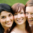 Happy smiling girl friends outdoor — Stock Photo