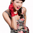 Pin-up girl with red gloves — Stock Photo