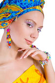 Beautiful woman with colourful accessories — Stock Photo