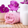 Pink flower and towel with two candles. spa composition — Stock Photo