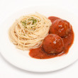 Spaghetti with meat-balls — Stock Photo