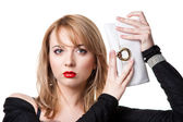 Woman with red lips holding white purse — Stock Photo