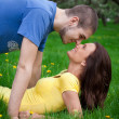 Love couple together on the grass  — Stock Photo