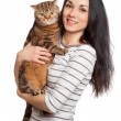 Stock Photo: Beautiful smiling brunette girl and her ginger cat over white ba