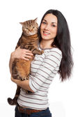 Beautiful smiling brunette girl and her ginger cat over white ba — 图库照片