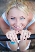 Lovely beautiful blonde woman with amazing eyes outdoor — Stock Photo