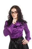 Beautiful brunette woman wearing shirt and skirt — Stock Photo