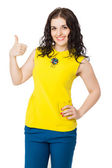 Beautiful brunette happy girl with curly hair thumbs up — Stock Photo