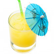 Fruit Cocktail with blue umbrella and piece of orange — Stock Photo