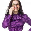 Brunette woman wearing shirt, skirt and glasses making moustache — Stock Photo