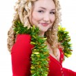 Beautiful blonde curly smiling girl — Stock Photo