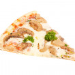 Slice of pizza with mushrooms — Stock Photo
