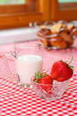 Breakfast with milk and strawberry — Stock Photo