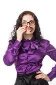 Brunette woman wearing shirt, skirt and glasses making moustache — Stock Photo