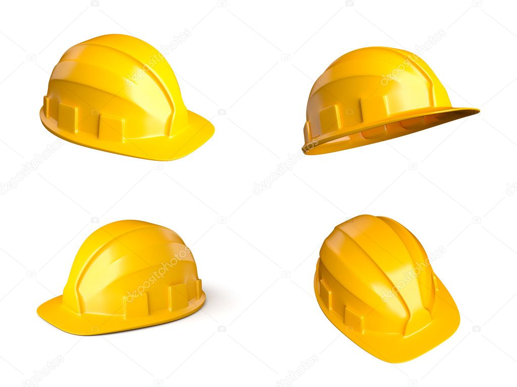 Set of 4 different views of helmets — Stock Photo #19029991