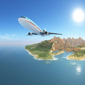 Airplane from exotic island, vacation destination — Stock Photo