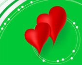 Red hearts in green background — Stock Vector