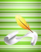 Papier et plume jaune — Vecteur