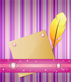 Violet - pink background with feather and paper. — Stock Vector