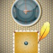 Retro background with clocks and feather. — Imagens vectoriais em stock