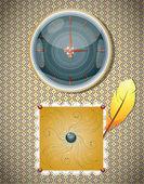 Fondo retro con relojes y plumas. — Vector de stock