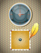 Retro background with clocks and feather. — Wektor stockowy