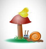śmieszne ślimak w pobliżu grzyb. — Wektor stockowy