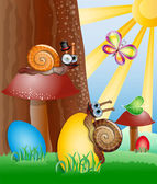 Easter picture with snails. — Stock Vector