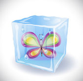 Ice cube with butterfly — Stock Vector