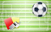Campo de futebol com conjunto de bolas de futebol. — Vetor de Stock