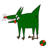 Strange green dog with ball — Vetor de Stock