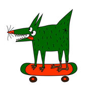 Strange green dog on the skateboard — Stock Vector