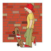 Jonge man met skateboard — Stockvector