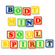 Body mind soul and spirit in color block — Stock vektor