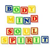 Body mind soul and spirit in color block — Stock Vector