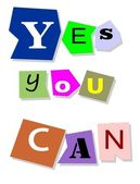 Yes you can - motivational slogan. — Stock Vector