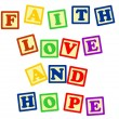 Постер, плакат: Faith love and hope