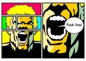 Man throwing a curse - Comic — Stock Vector