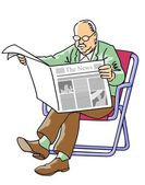 Grandfather reading the newspaper — Stock Vector