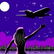 Airplane taking off and woman saying goodbye — Imagens vectoriais em stock