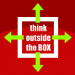 Think outside box phrase — Stock Vector #24378733