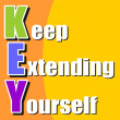 Keep extending yourself - motivation acronym — Stock Vector