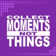 Collect moments - motivational phrase — Stock Vector