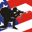 Americsoldier defending his country — Vector de stock #29747575