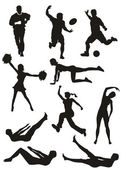 Sports and Fitness Silhouettes — Stock Vector