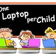 Children with laptops at school — Stock Vector