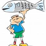 Fish kid - funny illustration — Stock Vector