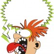 Stock Vector: Guy redhead screaming