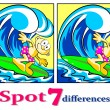 Stock Vector: Surfer - Find seven differences